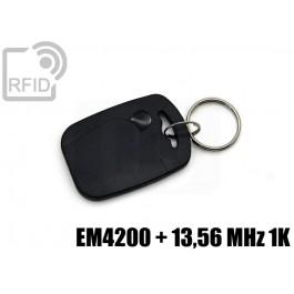 Portachiavi tag RFID rettangolare EM4200 + 13,56 MHz 1K
