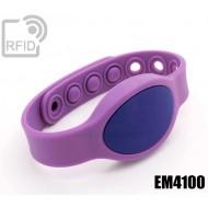 Braccialetti RFID silicone ovale clip EM4100