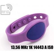 Braccialetti RFID silicone ovale clip 13,56 MHz 1K 14443 A I