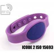 Braccialetti RFID silicone ovale clip ICODE 2 ISO 15693