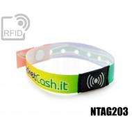 Braccialetti RFID in raso monouso NFC NTAG203 1
