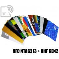 Tessere card stampate doppio chip NFC NTAG213 + H3 UHF