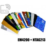 Tessere card stampate doppio chip NFC EM4200 + NTAG213