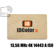 Tessere card in legno RFID 13,56 MHz 4K 14443 A ISO 1