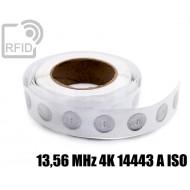 Etichette RFID trasparente Diam.25 mm 13,56 MHz 4K 14443 A I 1