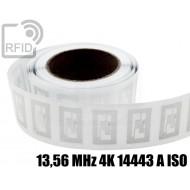 Etichette RFID trasparente 40 x 25 mm 13,56 MHz 4K 14443 A I 1
