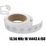 Etichette RFID trasparente Diam.18 mm 13,56 MHz 1K 14443 A I 1
