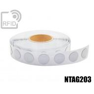 Etichette RFID antimetallo diam. 18 mm NFC NTAG203