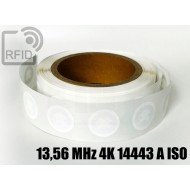 Etichette RFID Diam. 25 mm 13,56 MHz 4K 14443 A ISO 1