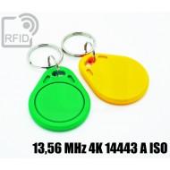 Portachiavi tag RFID piatto 13,56 MHz 4K 14443 A ISO