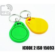 Portachiavi tag RFID piatto ICODE 2 ISO 15693 1