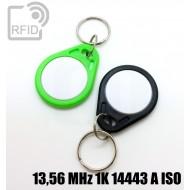 Portachiavi RFID piatto bicolore 13,56 MHz 1K 14443 A ISO 1