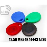 Portachiavi tag RFID bombato 13,56 MHz 4K 14443 A ISO 1
