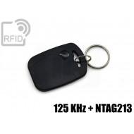 Portachiavi tag RFID rettangolare 125 KHz + NFC NTAG213
