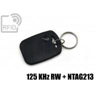 Portachiavi tag RFID rettangolare NFC 125 KHz RW + NTAG213