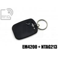 Portachiavi tag RFID rettangolare EM4200 + NFC NTAG213