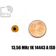 Tag RFID film diametro 8 mm 13,56 MHz 1K 14443 A ISO